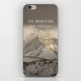 The Mountains are calling, and I must go.  John Muir. Vintage. iPhone Skin