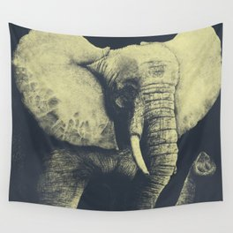 Elephant Drawing (Blue & Yellow) Wall Tapestry