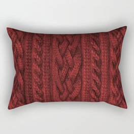 Cardinal Red Cable Knit Rectangular Pillow