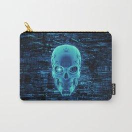 Gamer Skull BLUE TECH / 3D render of cyborg head Carry-All Pouch