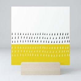 Black & white rain on yellow Mini Art Print