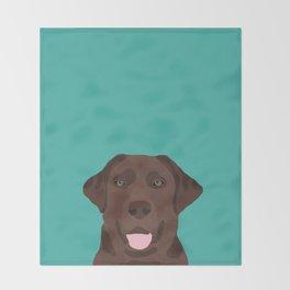 Chocolate Lab peeking dog head labrador retriever must have funny dog breed gifts Throw Blanket