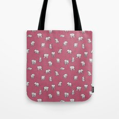 Indian Baby Elephants in Pink Tote Bag