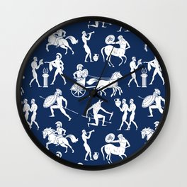 Greek Figures // Dark Blue Wall Clock
