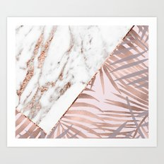Rose gold marble & tropical ferns Art Print