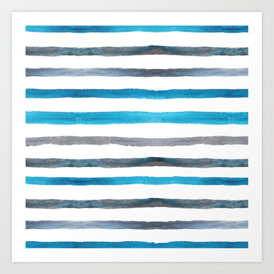 Azure blue and grey watercolor stripes Art Print