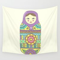 doll Wall Tapestries featuring Russian Doll by haleyivers