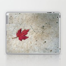 Red Leaf on Concrete Laptop & iPad Skin
