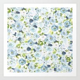 Blue Watercolor Floral Print, Hand-Painted Flowers, Slate Blue, Roses, Romantic Bouquet, Art Print