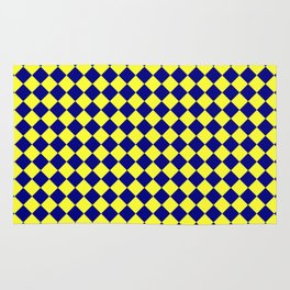 Electric Yellow and Navy Blue Diamonds Rug