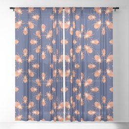 Copper Beetle on Navy Background Sheer Curtain