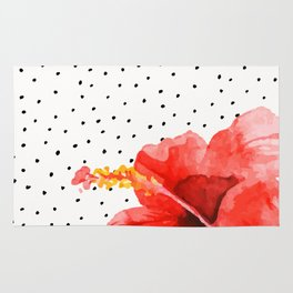 Tropical flower on dots Rug