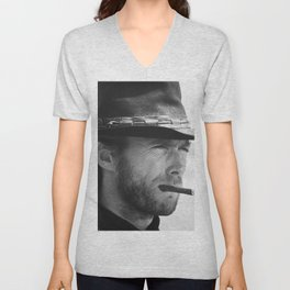 Clint Eastwood Smoking a Cigar Retro Vintage Art Unisex V-Neck