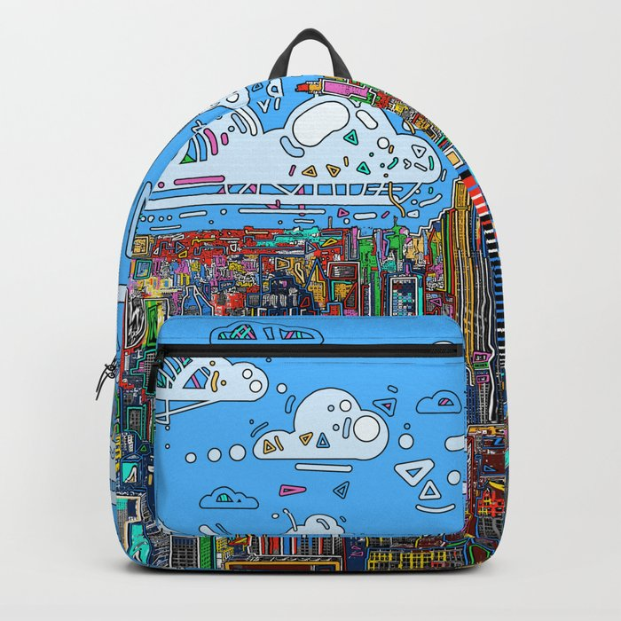 new york city skyline colorful Backpack