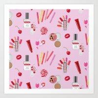 makeup Art Prints featuring makeup by fungusmiu