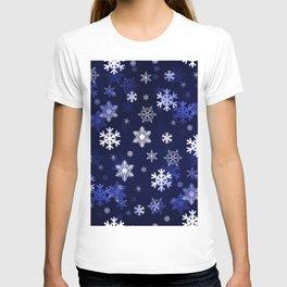 Dark Blue Snowflakes T-shirt