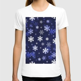 Dark Blue Snowflakes T-shirt