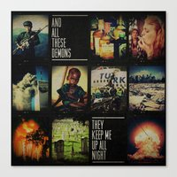 blink 182 Canvas Prints featuring blink-182 - Up All Night by J.J. del Rosario