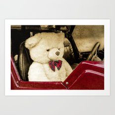 TEDDY GOES FOR A DRIVE Art Print