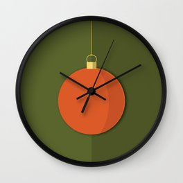 Christmas Globe - Illustration in Green and Orange Wall Clock