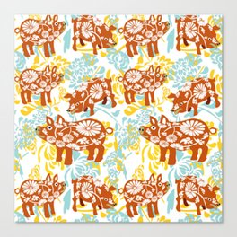 The Year of The Pig with Chysanthemums Canvas Print