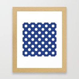 Dark cornflower blue - blue - White Polka Dots - Pois Pattern Framed Art Print