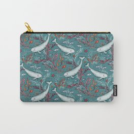 Narwhal Toile - teal blue Carry-All Pouch
