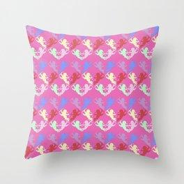 colorful cherubs pink Throw Pillow
