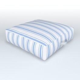 Mattress Ticking Wide Striped Pattern in Pale Blue and White Outdoor Floor Cushion