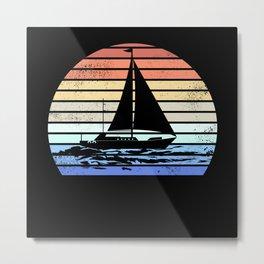Sail Ship Retro Sunset Vintage Sailing Metal Print