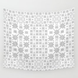Simple Elegant Black and White Fractal Square Mandala Wall Tapestry
