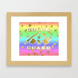 Color Guard Rainbow and Gold Stars Design Framed Art Print