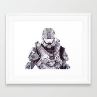 master chief Framed Art Prints featuring Master Chief by DeMoose_Art