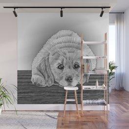 Golden Retriever Puppy Pencil Drawing Wall Mural