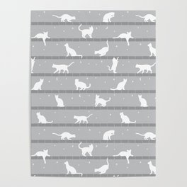 Cats Pattern (Grey) Poster