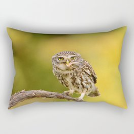 A little owl with a grasshopper Rectangular Pillow