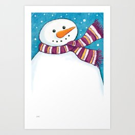 A Friendly Carrot-Nosed Snowman Art Print