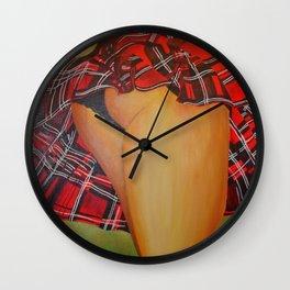Young Girl Flirting Tease Me in Tartan Wall Clock