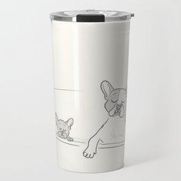 French Bulldogs Bath Time Travel Mug