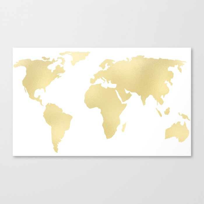 Gold Rush Map of the World Canvas Print by mapmaker | Society6