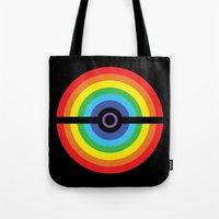 pokeball Tote Bags featuring Rainbow Pokeball by Hi 5 Graphics