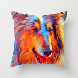 Collie Watercolor Throw Pillow