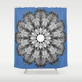 Abstract icy winter flower mandala Shower Curtain