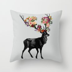 Spring Itself Deer Floral Throw Pillow