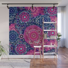 Paisley Patterns in Red Magenta and Blue Sky Wall Mural