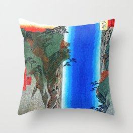 Traditional Japanese Wood Block Print Throw Pillow