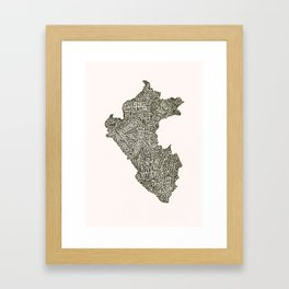 Lettering map of Perú Framed Art Print