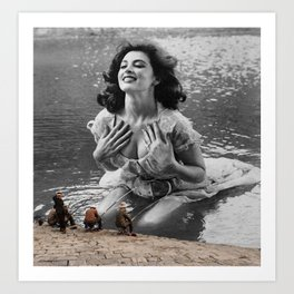 River Fishing Lady Art Print