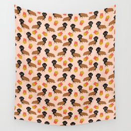 Hot Dog weener Dachshund breed cute weiner dog owner pet portrait funny junk food hot dog  Wall Tapestry