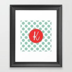 Monogram Initial K Polka Dot Framed Art Print